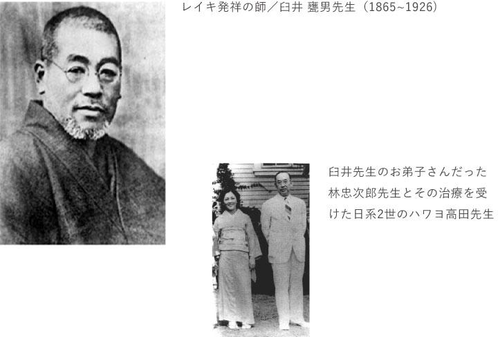 レイキ発祥の師/臼井 甕男先生(1865~1926) 臼井先生のお弟子さんだった林忠次郎先生とその治療を受けた日系2世のハワヨ高田先生